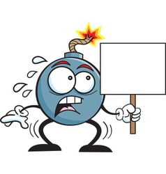 Cartoon bonb holding a sign vector image
