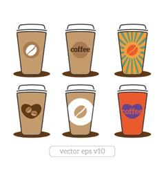 coffee cups set vector image