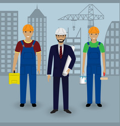 construction people engineer in suit with vector image vector image