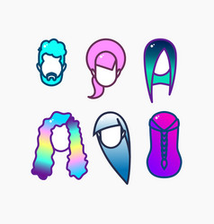 Dyed hair icon set vector