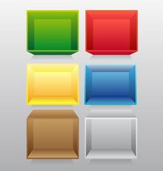 empty colorful bookshelf vector image vector image