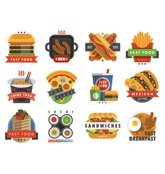 fast food flat label logo emblem restaurant tasty vector image vector image