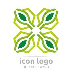 four icon hexagon letter x green design vector image