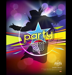 Girl jumping colorful party design vector