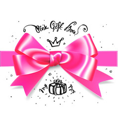 gold pink glamour gift bow bow for little vector image vector image