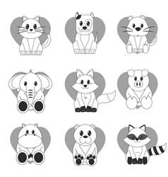 icon set cartoons design vector image vector image