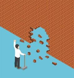 Isometric businessman use hammer breaking the wall vector
