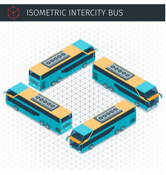 isometric intercity bus vector image vector image