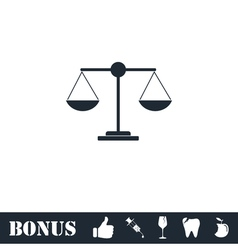 Justice scale icon flat vector image vector image