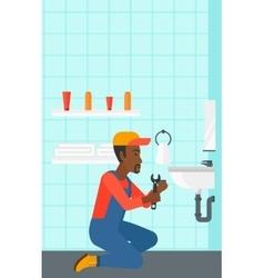 Man repairing sink vector