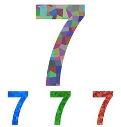 Mosaic font design set - number 7 vector