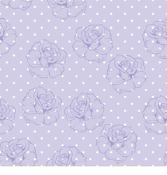 Seamless floral pattern with violet roses on blue vector image