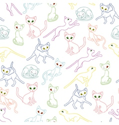 Seamless with colorful cat contours vector image vector image