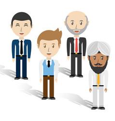 Set avatars men of different diversity over white vector