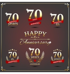 Seventy years anniversary signs collection vector