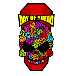 Skull of flowers for day of the dead skeleton vector