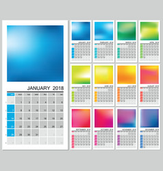 Wall calendar for 2018 year vector