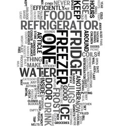 Your frugal fridge text word cloud concept vector