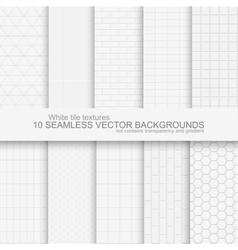 10 white tile backgrounds vector