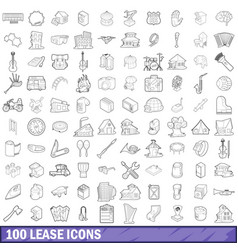 100 lease icons set outline style vector