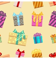 Gift boxes with ribbon bows seamless pattern vector image