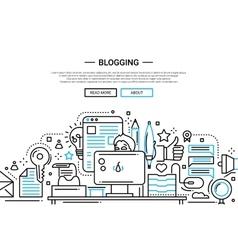 Blogging - line design website banner vector image