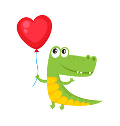 cute and funny crocodile holding red heart shaped vector image