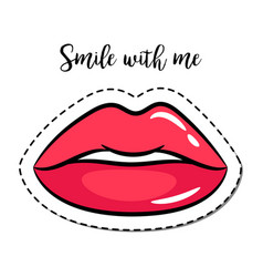 Fashion patch element pink lips vector