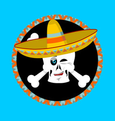 Day of the dead skeletons and sombrero vector