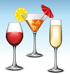 Different glass with drink set vector