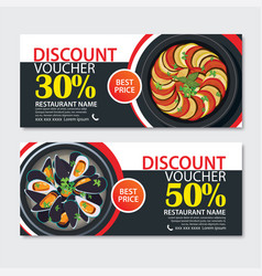 Discount voucher french food template design set vector