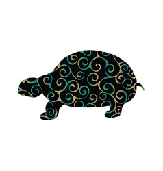 Land turtle reptile color silhouette animal vector