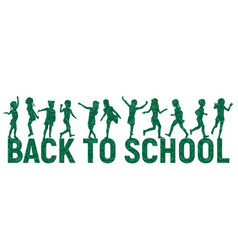 silhouettes children back to school on school vector image