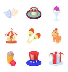 theater icons set cartoon style vector image