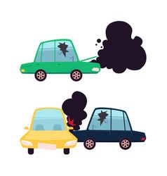 Flat cartoon car crash accident set vector