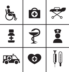 Medical health care icons set vector