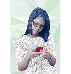 Low poly of asian girl happily using mobile phon vector