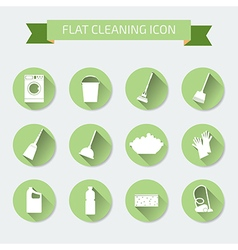 Flat color set of icons house cleaning and laundry vector