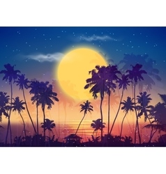 Retro style full moon sky with palm silhouettes vector