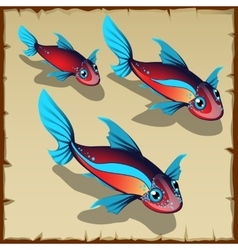 Three red fish with blue spots vector