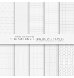 10 white tile backgrounds vector