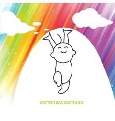 Background of joyful baby under colorful light vector