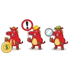 Red wild pig mascot with money vector