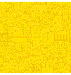 Thin yellow baby newborn line seamless pattern vector