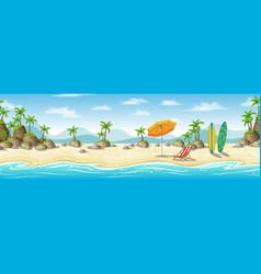 A tropical coastal landscape with deckchair vector