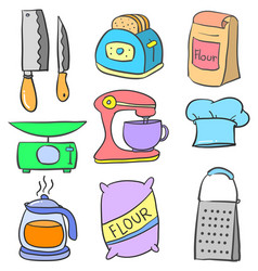 Art of kitchen equipment doodles vector