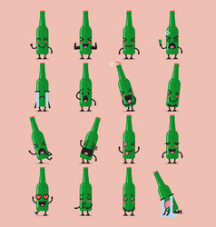beer bottle character emoji set vector image vector image