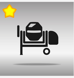 Black concrete mixer icon button logo symbol vector