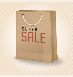 Brown shopping paper bag with super sale vector