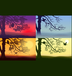 colorful nature landscapes set vector image vector image